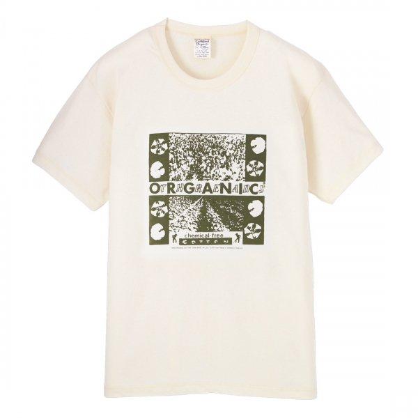 S.O.S. from Texas×ORGANIC THREADS Short Sleeve Crew Tee Green Printed