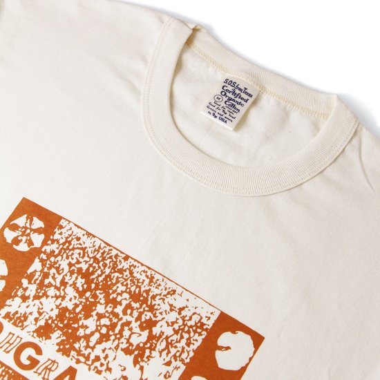 S.O.S. from Texas×ORGANIC THREADS Short Sleeve Crew Tee Brown Printed