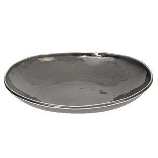 グレーいっぷく楕円鉢M 24.6cm パン&スープ 業務用 g-1931-16