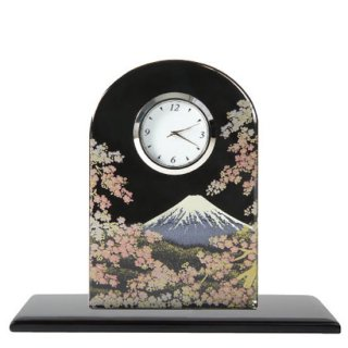 蒔絵ガラス置き時計 富士に桜