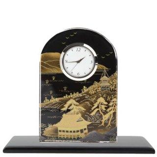 蒔絵ガラス置き時計 山水