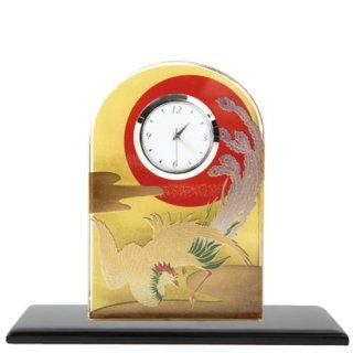 蒔絵ガラス置き時計 鳳凰
