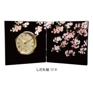17-9 蒔絵屏風時計 しだれ桜