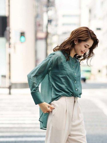 【70%off】切り替えシアーチュニックシャツ