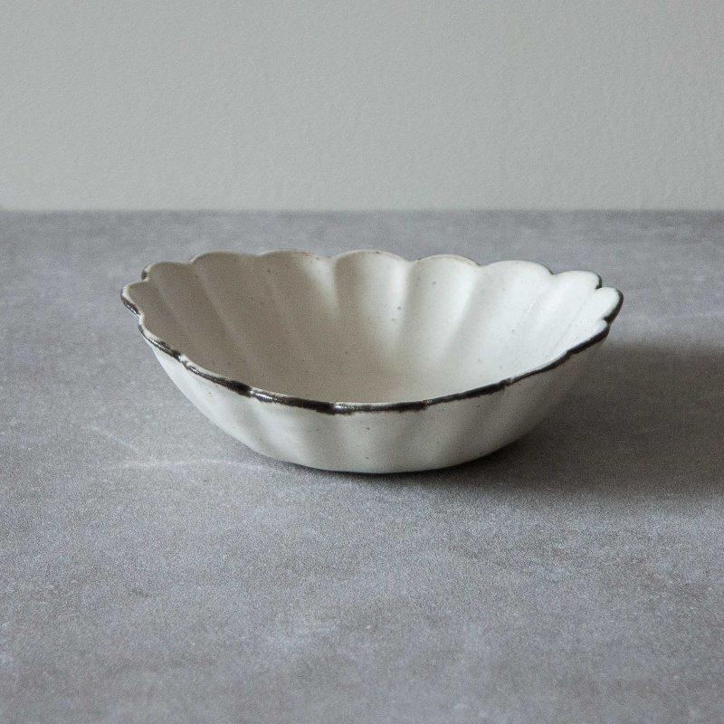 石岡信之 白輪花 楕円5寸鉢