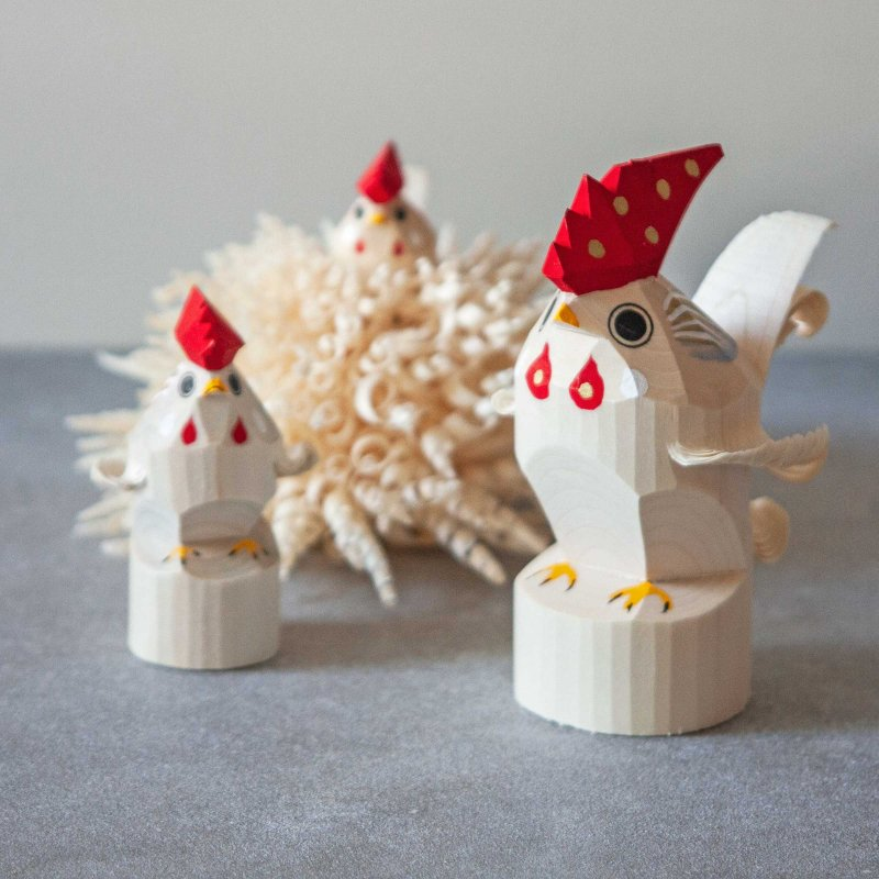 笹野一刀彫 鶏 (にわとり) 小・大・花鳥 / おたか三兄弟