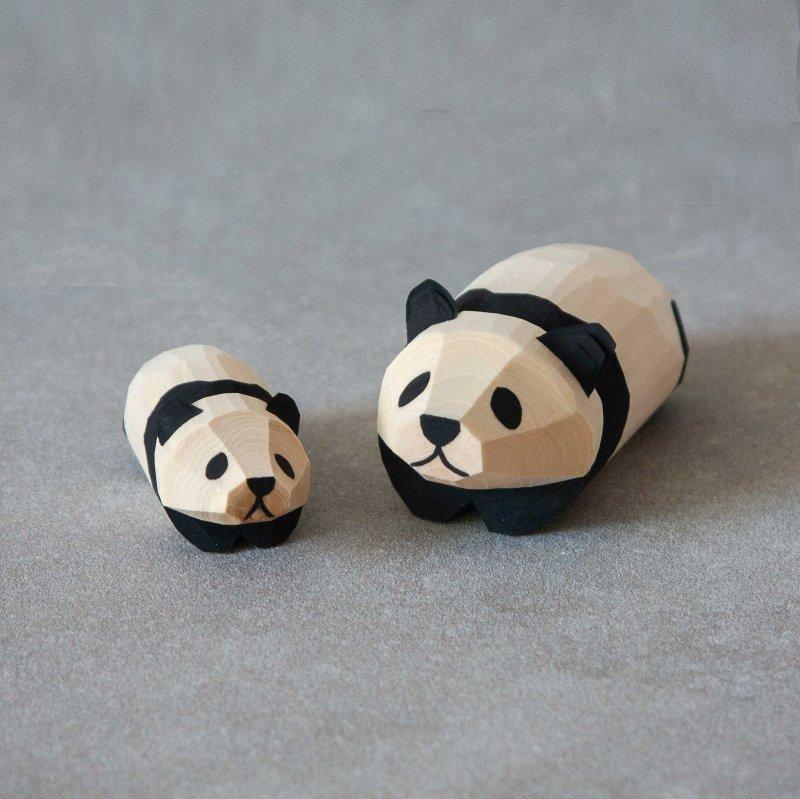 笹野一刀彫 ジャイアントパンダ (おたか三兄弟)