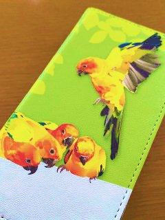 とりアート<br>コガネメキシコインコ<br>iPhone手帳型ケース