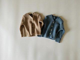 【 sale 】 Color rib knit cardigan / Aosta