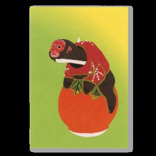 ポストカード 柿乗り猿