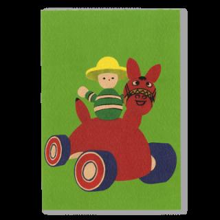 ポストカード 赤い木馬