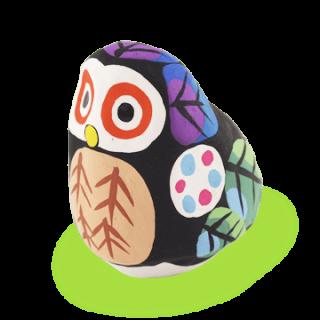宮島張り子 フクロウ(紫)