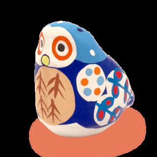 宮島張り子 フクロウ(青)
