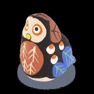 宮島張り子 フクロウ(青茶)