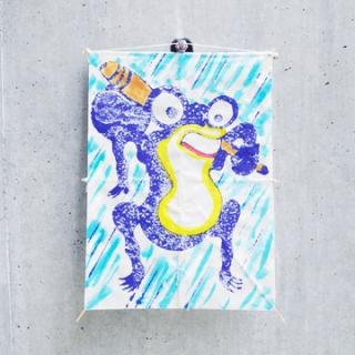 江戸凧   角半紙判 蛙
