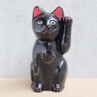 京都伏見人形   黒招き猫(小)