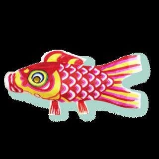 手漉和紙手描鯉幟   緋鯉(赤)1.2m