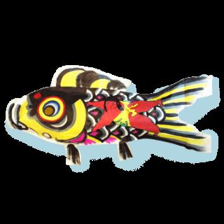 手漉和紙手描鯉幟   真鯉(黒)1.5m 金太郎入