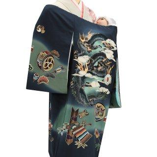 【高級】男の子レンタル産着 B114 高級正絹 紺地 二頭龍