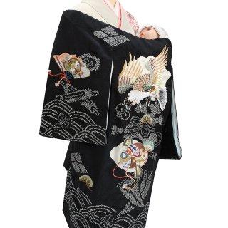 男の子レンタル産着 B96 正絹黒地 鷹 絞り 刺繍