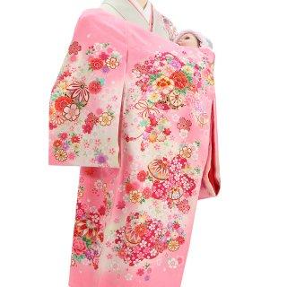 女の子レンタル産着 G84 正絹ピンク地 熨斗 花々