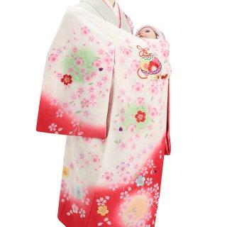 【高級】女の子レンタル産着 G208 高級正絹白地 赤ぼかし 刺繍鈴