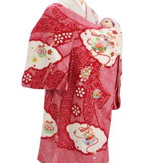 【高級】女の子レンタル産着 G209 高級正絹赤地 本絞り染 刺繍鈴