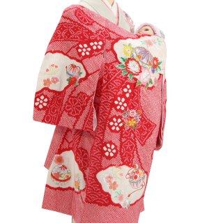 【高級】女の子レンタル産着 G211 高級正絹赤地 本絞り染 刺繍鞠