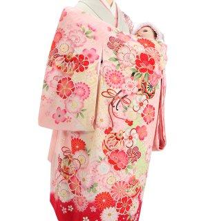 【高級】女の子レンタル産着 G212 高級正絹ピンク地 花車 鈴 紗綾形