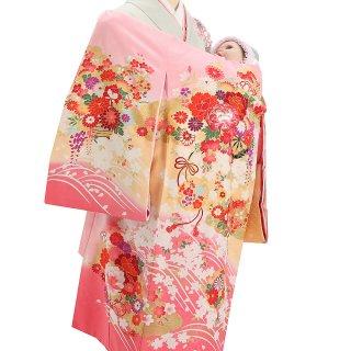【高級】女の子レンタル産着 G214 高級正絹ピンク地 花車 流水