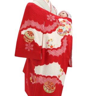 【高級】女の子レンタル産着 G222 高級正絹赤地 本絞り 金彩友禅 鞠