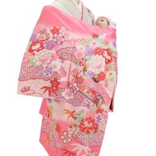 女の子レンタル産着 G31 濃ピンク地 花みやび