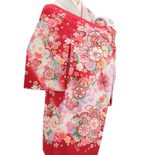 女の子レンタル産着 G33 赤地 鈴と花束