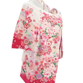 女の子レンタル産着 G73 正絹白地 薄ピンク 鈴と花束