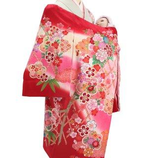 女の子レンタル産着 G39 正絹赤地 垣根に花