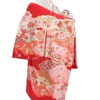 女の子レンタル産着 G40 正絹赤地 雲取りに鞠 小花