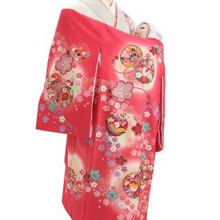 女の子レンタル産着 G42 正絹赤地 鞠と鼓 小花