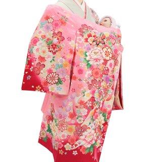 女の子レンタル産着 G45 正絹ピンク地 鞠 花らんまん