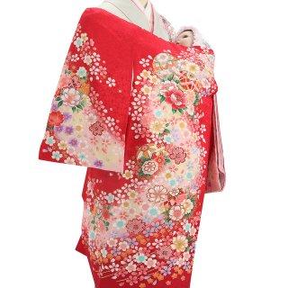 女の子レンタル産着 G46 正絹赤地 桜流水 鞠