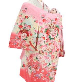 女の子レンタル産着 G47 正絹ピンク地 花 鞠 鼓