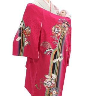 女の子レンタル産着 G51 正絹赤紫地 鼓
