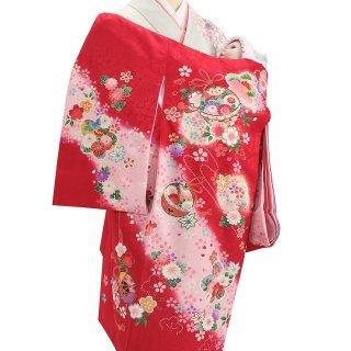 女の子レンタル産着 G55 正絹赤地 鈴 桜