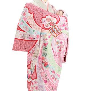 女の子レンタル産着 G56 赤ピンク地 束ね熨斗 疋田柄