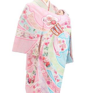 女の子レンタル産着 G57 ピンク水色地 束ね熨斗 疋田柄