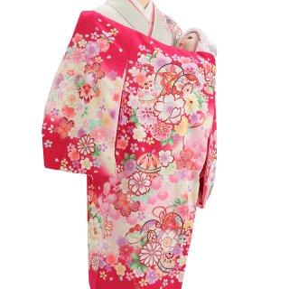 女の子レンタル産着 G59 赤ピンク地 鼓 花と鞠