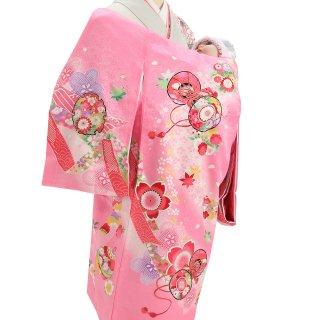 女の子レンタル産着 G61 正絹ピンク地 鼓 鈴