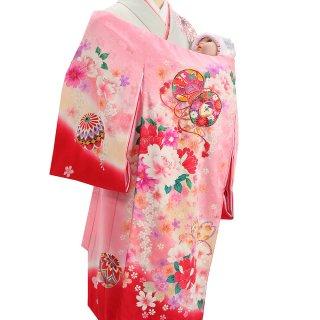 女の子レンタル産着 G63 正絹ピンク地 桜地 鼓