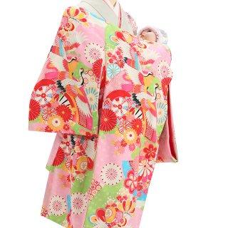女の子レンタル産着 G65 ピンク地 ブランド JAPAN STYLE