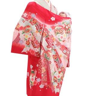 女の子レンタル産着 G67 正絹赤地 熨斗 鞠
