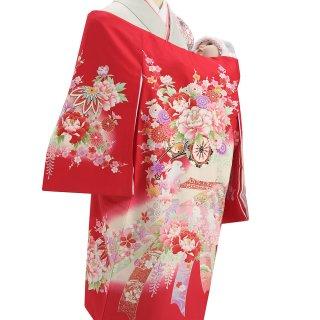 女の子レンタル産着 G70 正絹赤地 花車 兎
